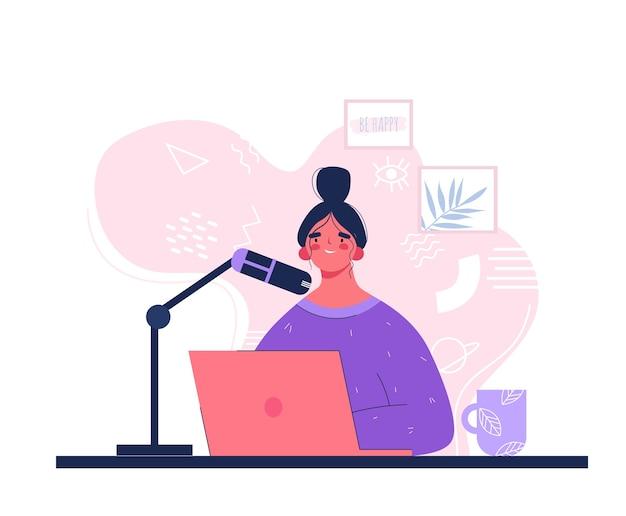 Stół do podcastów. kobieta z mikrofonem. nagrywa podcast w stylu płaskim. dziewczyna z laptopem