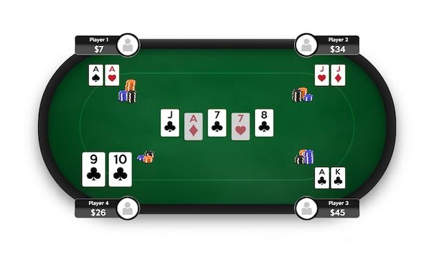 Stół do pokera. pokój pokerowy online. ilustracja gry texas hold'em.