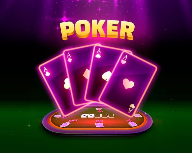 Stół do pokera z kartami i żetonami na zielonym tle. ilustracja wektorowa