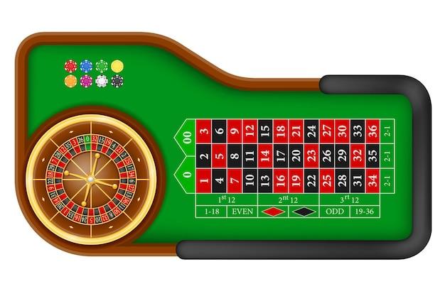 Stół do ruletki w kasynie na białym tle