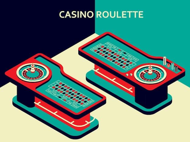 Stół do ruletki w kasynie w izometrycznym stylu płaski. koło, wióry i kostki