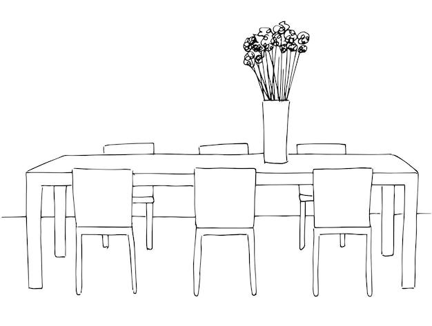 Stół i krzesła. na stole wazon z kwiatami. ilustracja wektorowa. ręcznie rysowane.