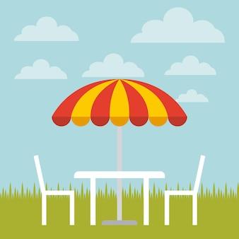 Stół, krzesła i parasol