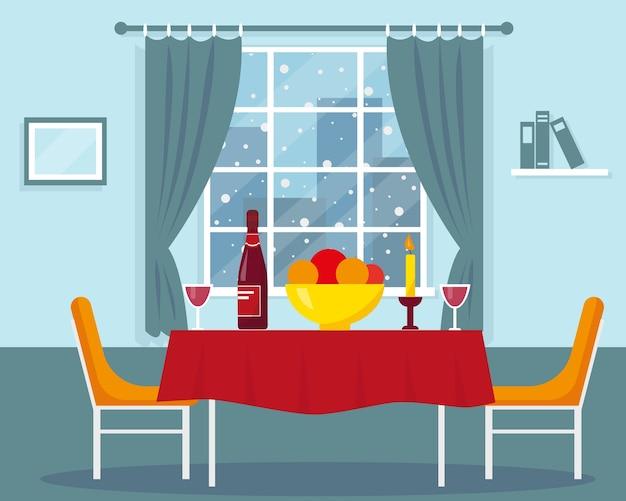 Stół na romantyczną kolację przy oknie