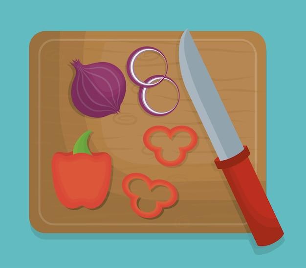 Stół nożowy z ikoną cebuli i pieprzu
