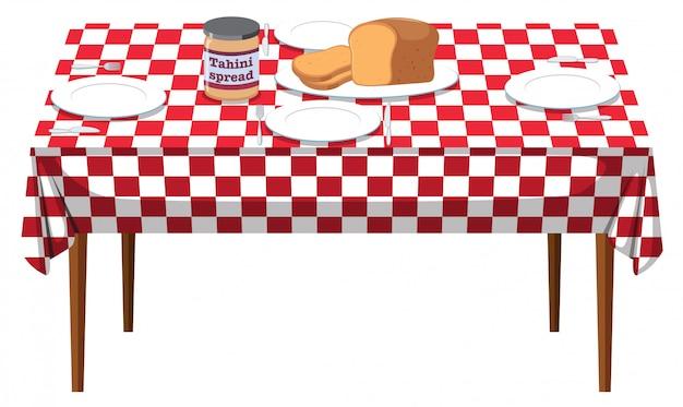 Stół śniadaniowy na białym tle