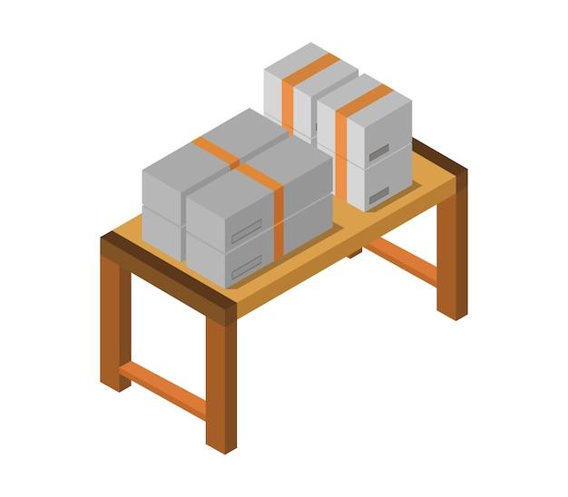 Stół z izometrycznym pudełkiem