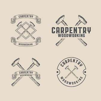 Stolarstwo młot do obróbki drewna logo szablon vintage