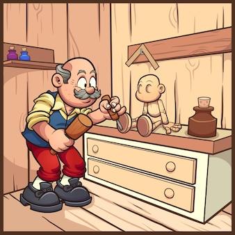Stolarz kreskówka pracujący nad drewnianą marionetką