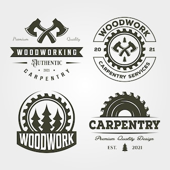 Stolarz stolarz zestaw logo vintage design
