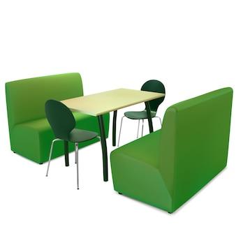 Stołowe krzesła i sofy w wegańskiej kawiarni
