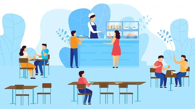 Stołówka szkolna, kafeteria, dzieci biorą tacę z jedzeniem, jedzą przy stołach, catering ilustracja kreskówka restauracja.