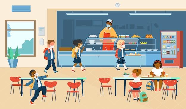 Stołówka szkolna z różnymi rasami uczniowie w maskach ochronnych. płaska ilustracja.
