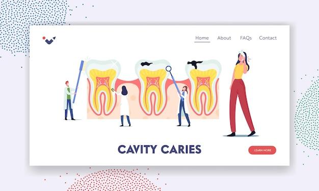 Stomatologia, szablon strony docelowej stomatologii. drobni dentyści czyszczą, leczą ogromny niezdrowy ząb z próchnicą. lekarze szczotkują, czyszczą płytkę nazębną. ilustracja wektorowa kreskówka ludzie