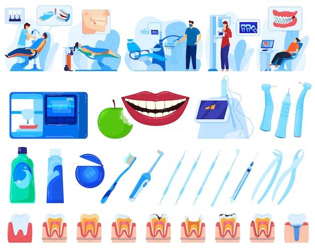 Stomatologia, zestaw ilustracji wektorowych zdrowia jamy ustnej.