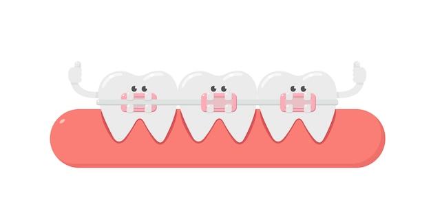 Stomatologiczna kreskówka, ząb i stomatologiczny aparat ortodontyczny. ortodoncja zębów. opieka dentystyczna.