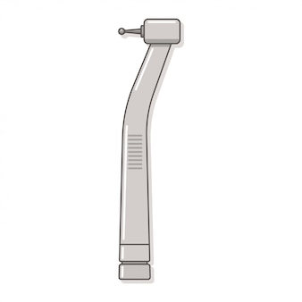 Stomatologiczny świder z handpiece wektorową ilustracją odizolowywającą na białym tle.
