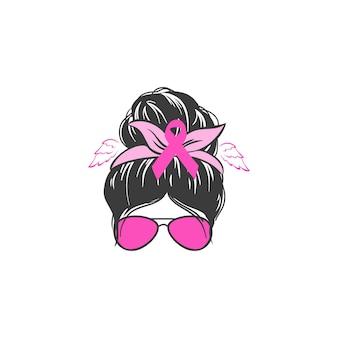 Stop rakowi walcz z rakiem napis motywacyjny nieuporządkowana kobieta z kok z różową wstążką ilustracją