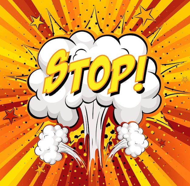 Stop tekst na komiksowej eksplozji chmury na tle promieni