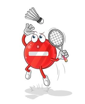 Stop znak rozbić na kreskówce badmintona