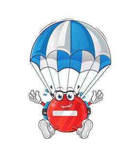 Stop znak skoki spadochronowe ilustracja