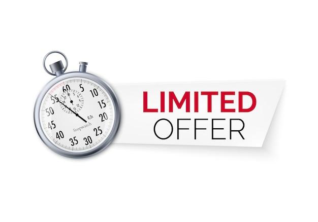 Stoper z ofertą specjalną. baner oferty ograniczony czasowo. duży rabat na sprzedaż.