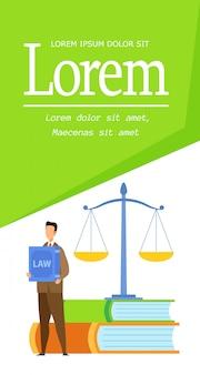 Stopień prawny, prawny broszura szablon płaski