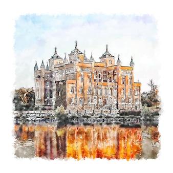 Stora sundby castle szwecja szkic akwarela ilustracja
