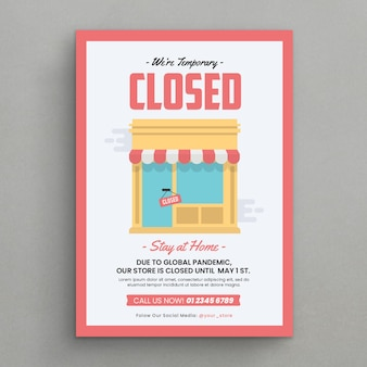 Store closed announcement flyer