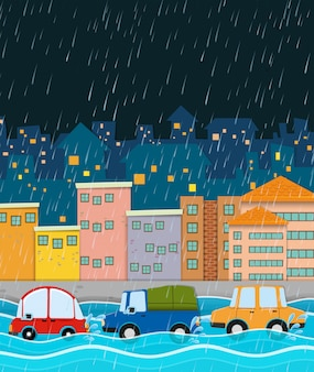Stormy night and flood city