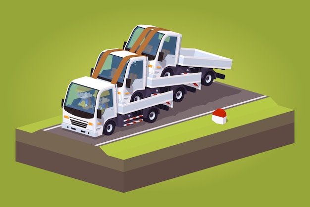 Stos białych ciężarówek lowpoly 3d