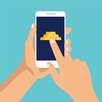 Stos błyszczących sztabek lub sztabek złota na wyświetlaczu telefonu mężczyzna klika na ekranie smartfona bezpieczne przechowywanie