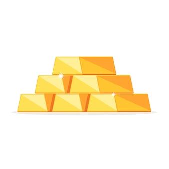Stos błyszczących sztabek złota