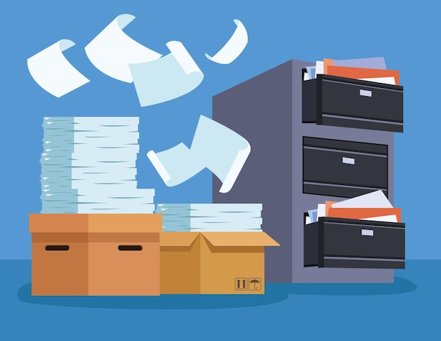 Stos dokumentów i szafka