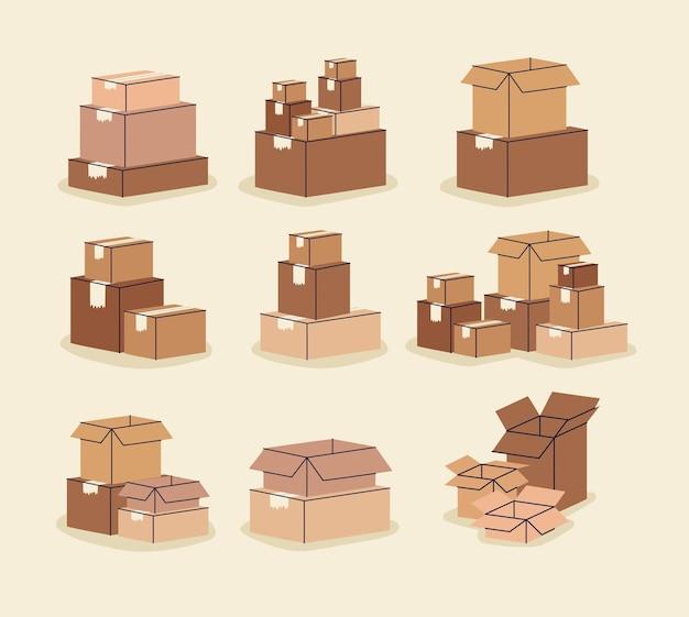 Stos dziewięciu pudeł