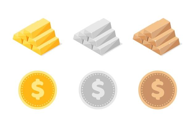 Stos izometrycznych błyszczących złotych srebrnych i brązowych sztabek lub sztabek izolowanych