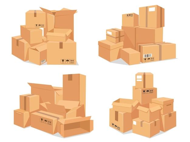Stos kartonów. duży stos dostawy brązowych pudełek kartonowych. kreskówka ułożone paczki magazynowe. pakowanie do przeprowadzki do nowego zestawu wektorów domu. ilustracja do pakowania w stos do przenoszenia i dystrybucji
