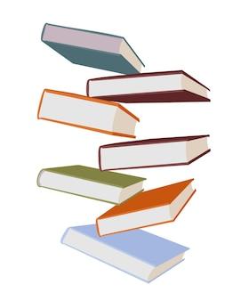 Stos kolorowych książek na białym tle