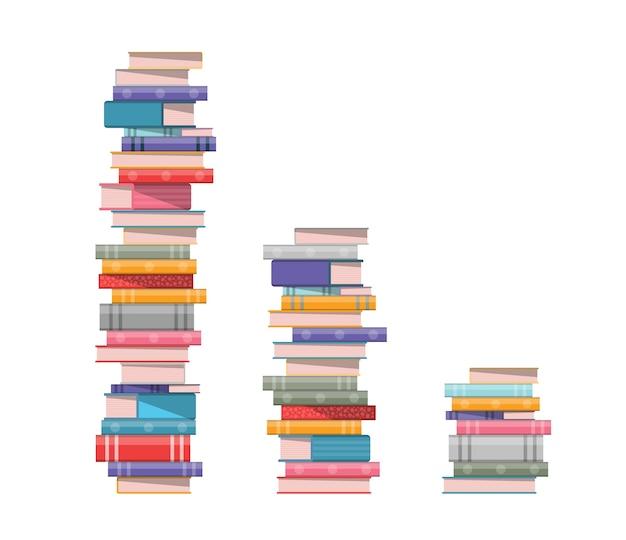 Stos książek. 3 stosy książek na białym tle