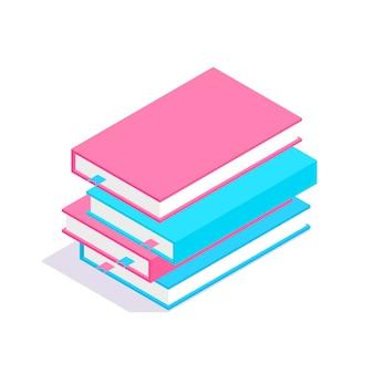 Stos książek 3d izometryczny. koncepcja uczenia się i edukacji.