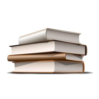 Stos książek beżowych i brązowych. książki różne kolory na białym tle. ilustracja
