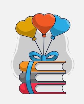 Stos książek i balonów ikona ilustracja wektorowa