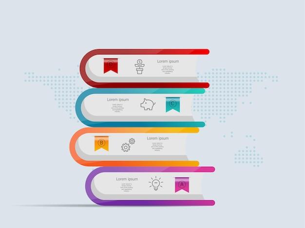 Stos książek infografiki szablon 4 kroki