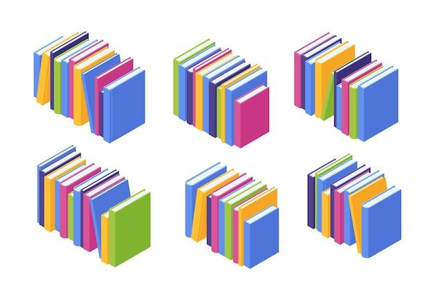 Stos książek izometryczny. ilustracja zestaw stosów stojących kolorowych podręczników papierowych