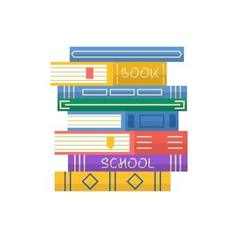Stos książek. napis klubu książki na zaproszenie i kartkę z życzeniami, promo, wydruki, ulotkę, okładkę i plakaty. ilustracja wektorowa stosu książek. projekt ikony