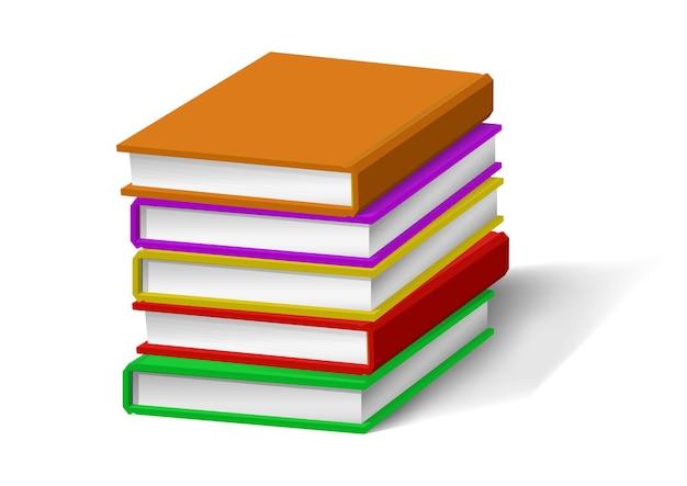 Stos książek realistyczne na białym tle.