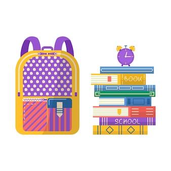 Stos książek z plecakiem i zegarem. napis klubu książki na zaproszenie, promo, wydruki, ulotkę, okładkę i plakaty. ilustracja wektorowa stosu książek.