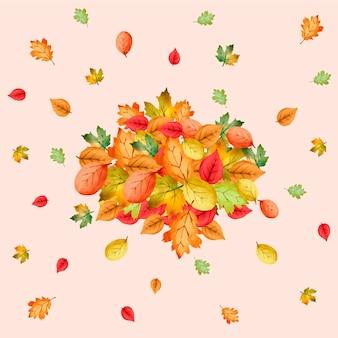 Stos liści w stylu akwareli