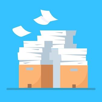Stos papieru, stos dokumentów z kartonem, pudełko kartonowe, teczka. papierkowa robota. koncepcja biurokracji.