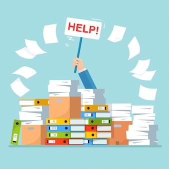 Stos papieru, stos dokumentów z kartonem, pudełko kartonowe, teczka.